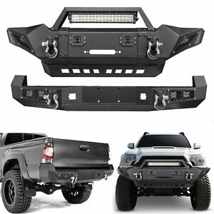 New Texture Black Front Rear Bumper Guard W Led Light For Tacoma 2005 2015