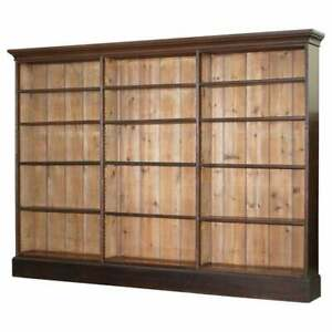 Lovely Victorian 1880 Mahogany Oak Library Bookcase 169cm Tall 235cm Wide