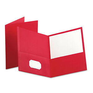 Oxford Twin pocket Folder Embossed Leather look Grain Paper Red 25 box 57511