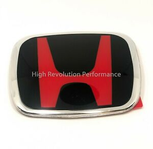 Honda Civic Coupe Accord Fit Hrv Jdm Red H Front Emblem Badge Logo