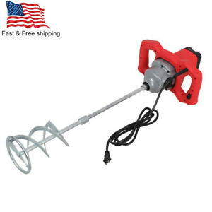 New Electric Mortar Mixer 2100w Dual High Low Gear 6 Speed Paint Cement Grout Us