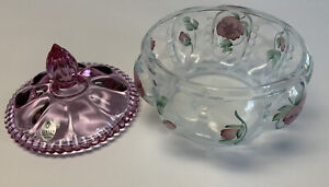 Vintage FENTON Opalescent Ruby Painted Signed Glass Covered Candy Dish
