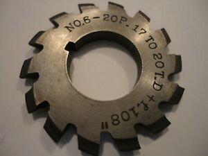 Involute Gear Cutter 6 20p 17 To 20td f 108 Bore 7 8 Brown Sharpe