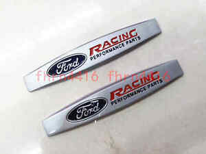 2x Ford Racing Performance Parts Fender Door Emblem Badge Sticker Matte Silver