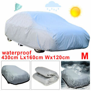 Waterproof Medium Full Car Cover Breathable Uv Protect Outdoor Universal Grey Us