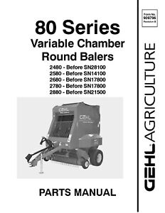 Gehl 2480 2580 2680 2780 2880 Round Balers Variable Chamber Service Parts Manual