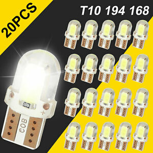 20x T10 194 168 W5w Super White Cob Led License Plate Interior Light Bulbs 6000k