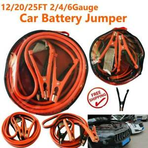 12 20 25 Ft 2 Gauge Heavy Duty Power Booster Cable Emergency Car Battery Jumper