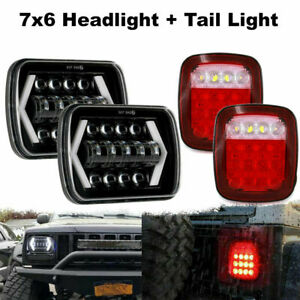 7x6 5x7 Led Headlights Hi Lo Beam Tail Lights For Jeep Wrangler Yj 1987 1995