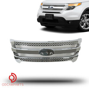 Fits Ford Explorer 2011 2015 Front Upper Grill Cover Assembly Full Chrome