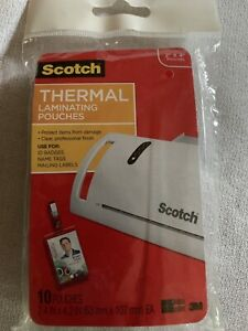 Scotch 2x4 Thermal Laminating Pouches 10 Pack Id Badges Name Tags