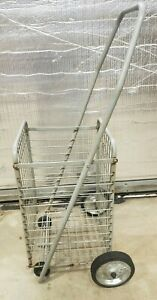 Vtg Wire Cart Basket Flea Market Grocery Laundry Shopping Collapsible 4 Wheels