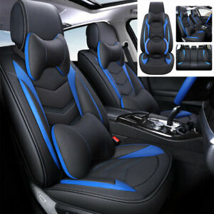 Pu Leather 5 sit Car Seat Cover Front rear Full Set Car Interior Accessories Us