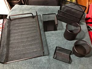 6 Piece Desk Set Organizer Office Accessories Mesh Metal Black