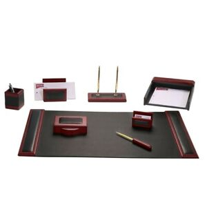 Dacasso Rosewood And Leather Desk Set 8 piece