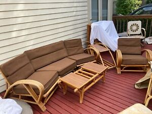 Vintage 3 Strand 4 Piece Bamboo Rattan Living Room Set