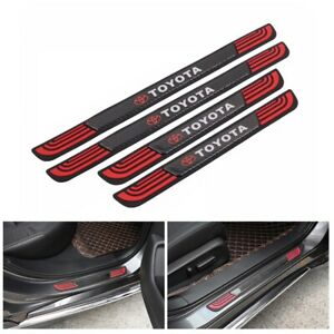 4pcs Rubber Carbon Car Door Scuff Sill Cover Panel Step Protector For Toyota