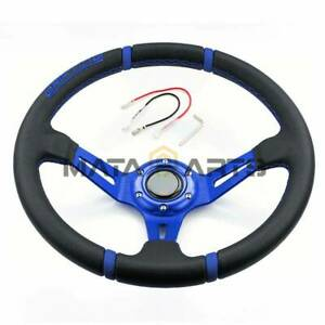 350mm Suede Leather Blue Spoke Deep Dish Steering Wheel For Drift Racing