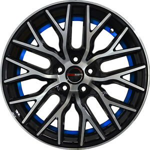4 Gwg Wheels 18 Inch Black Blue Undercut Flare Rims Fits Honda Accord V6 2000 02