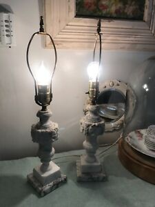 Vintage Italian Carved Marble Lamps Beautiful Pair
