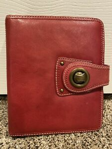 Compact Franklin Covey Full Grain Red Leather 1 Rings Planner binder Turnlock