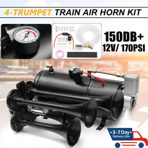 4 Trumpet Train Air Horn Kit 12v 170psi 3 Liters 150db Compressor Car Truck Boat