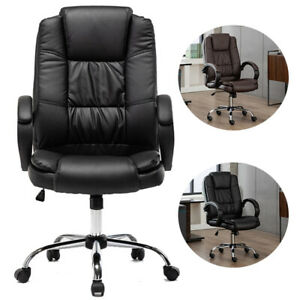 Computer Desk Office Gaming Chair Ergonomic Executive Swivel Leather High back