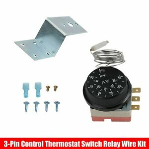 Adjustable Electric Radiator Fan Thermostat Switch Temperature Control Probe Kit
