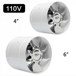 4 6 110v Inline Duct Booster Inline Blower Fan Exhaust Air Ducting Cooling Vent