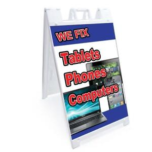 A frame We Fix Tablets Phones Computers Sign Double Sided Graphics 24 X 36