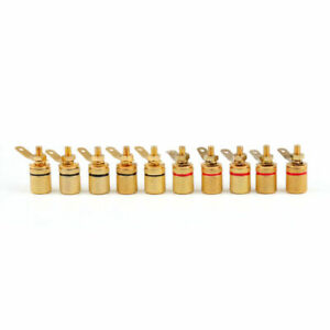 10 Pcs Gold Plated Binding Post Amplifier Speaker Audio Connector Terminal Us