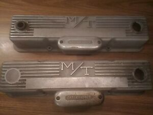 Mickey Thompson M t Valve Covers Finned Offenhauser Breather Small Block Chevy