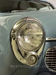 1950 1951 Studebaker Chrome Headlight Bezel Pair New 292120