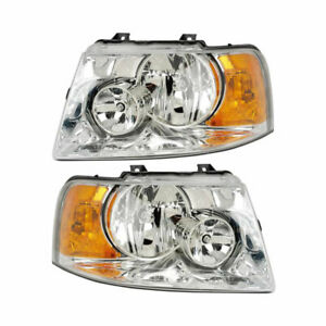 Pair New Left Right Headlight Assembly For Ford Expedition 2003 2004 2006
