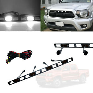 Front Bumper Hood Grille White Led Lights W e Harness For 2012 15 Toyota Tacoma
