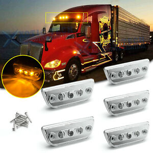 5pc Clear Lens Chrome Amber Led Roof Clearance Marker Lights For Kenworth T680