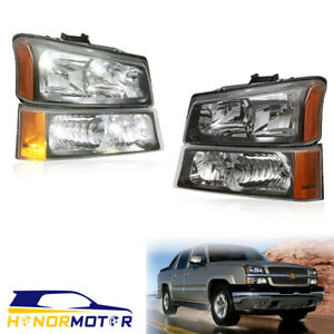 Black Headlights Bumper Lamps For 2003 2006 Chevy Silverado 1500 Ls 2500 3500 Hd