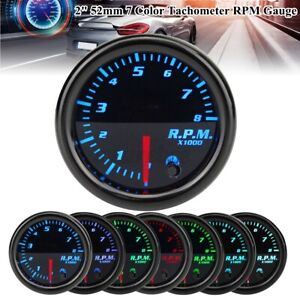 Universal 2 52mm Tacho Tachometer Rpm Gauge Car Meter 7 Color Led Tinted Face