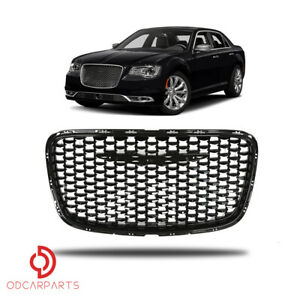 Fits 2015 2018 Chrysler 300 Front Upper Grille Gloss Black Ch1200393