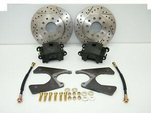 Gm 10 12 Bolt Rear Disc Brake Conversion Kit Drilled Slotted Rotors 4 Wheel