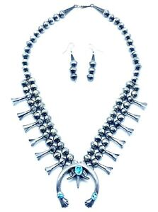 Navajo Pearl Handmade Turquoise Squash Blossom Necklace Set By Shirley Lee Sale $625.99