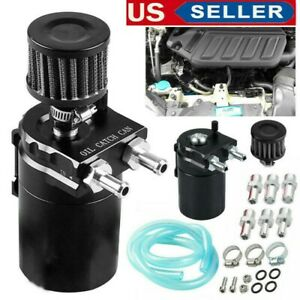 Black Oil Catch Tank Reservoir Breather Can W Filter Cylinder Aluminum Engine