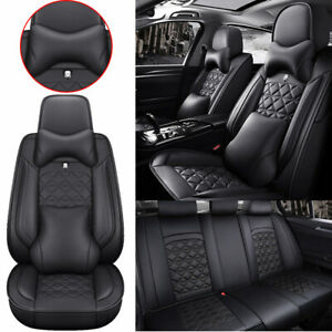 Luxury Car Seat Covers Pu Leather Front Rear 5 Sit Car Suv Truck Cushion Protect