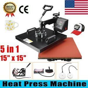 5 In 1 Heat Press Machine 15 X 15 Swing Away Transfer Combo T Shirt Mug Hat