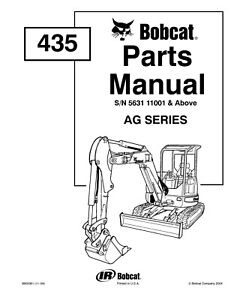 Bobcat 435 Mini Excavator Ag Series Service Parts Manual Sn 563111001 Above