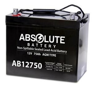 Absolute Ab12750 12v 75ah Sla Replacement Battery For Quantum Q6 Edge Hd