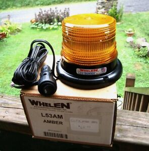 Whelen L53am L53 Series Super led Amber Beacon Light Magnet Mount New