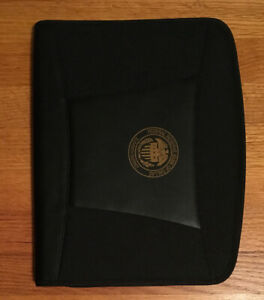 New dart black Cloth leather like Executive Zipper University Portfolio Folder