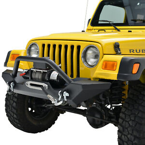Paramount Steel Front Bumper With Winch Plate Fit For 87 06 Jeep Wrangler Tj Yj