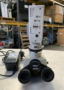 Nikon Microscope T Trinocular Head Optiphot Labophot W Sony Dxc190 Color Camera